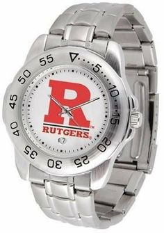Rutgers Sport Men's Steel Band Watch by SunTime. $54.95. Links Make Watch Adjustable. Stainless Steel-Scratch Resistant Crystal. Men. Calendar Function With Rotating Bezel. Officially Licensed Rutgers Scarlet Knights Men's Stainless Steel Logo Watch. This handsome, eye-catching watch comes with a stainless steel link bracelet. A date calendar function plus a rotating bezel/timer circles the scratch resistant crystal. Sport the bold, colorful, high quality logo with pride.