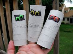 Mummy crafts are some of the absolute cutest Halloween crafts out there. They are really easy to make, even for little kids, and they are also very forgiving. If you make a mistake, it's hard Halloween Activities For Kids, Fall Crafts For Kids, Diy Arts And Crafts, Art Activities, Halloween Kids, Mummy Crafts, Puppet Crafts, Egyptian Crafts, Diy Recycling