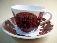 Gustavsberg Röd Aster kaffekopp