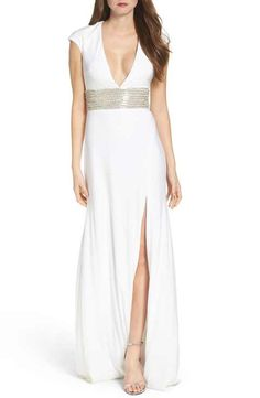 JVN by Jovani Embellished Jersey Gown