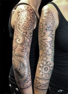 Dot Shading Sleeve Tattoo - pointalism