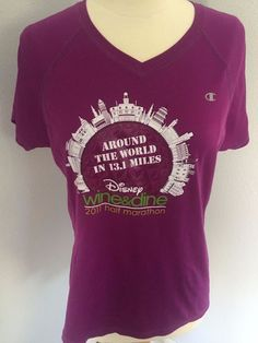 Womens Run Disney WINE & DINE HALF MARATHON Double Dry Champion Tech Shirt L #Champion #ShirtsTops