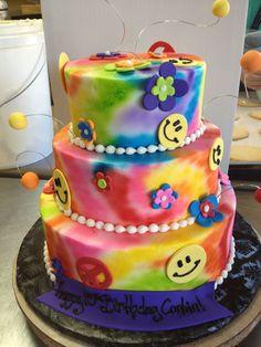 @KatieSheaDesign ♡❤ #Cakes ❤♡ ♥ ❥ Tie-dye 3 tiered cake, designed by Sam Lucero, Blue Cake, Little Rock AR
