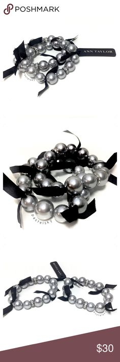 "ANN TAYLOR bracelet set NEW with tags, never worn and in perfect condition. beautiful, silver balls with gems and black ribbon. perfect for the holidays!   details ・set of 2 bracelets ・elastic stretch ・5.5"" around without stretch   color of actual item may vary slightly from photos give or take a few centimeters due to hand measurements  please don't hesitate to ask questions. happy POSHing    use offer feature to negotiate price  i do not trade or take any transactions off poshmark Ann…"