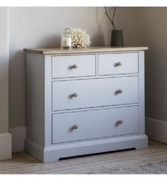 Marlow Soft Grey Painted Four Drawer Chest Of Drawers With Oak Top