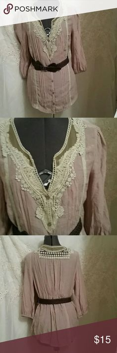FLASH SALE BEAUTIFUL BLOUSE This beautiful blouse is in excellent condition never been wore.  It has beautiful sage green crochet lace and taupe color fabric with a dark brown belt. Wet Seal Tops Blouses