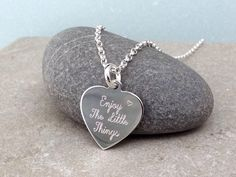 'Enjoy the little things' necklace. A lovely inspirational gift, engraved onto a sterling silver heart charm. Sterling Silver Heart Necklace, Little Things Quotes, Clean And Shiny, Friendship Gifts, Inspirational Gifts, Heart Charm, Metal Working, Dog Tag Necklace, Jewels