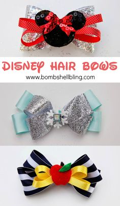 Disney Hair Bows - Step by step instructions - Elsa, Minnie & Snow White