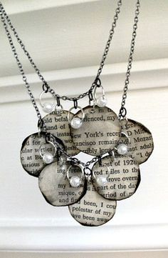DIY Decoupage Necklace with Words To Your Favorite Song.