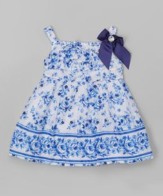Take a look at this Blue Floral Babydoll Dress - Infant, Toddler & Girls today!