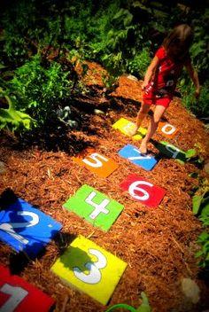 Read Between the Limes: Hopscotch Stepping Stones- Backyard Hopscotch Backyard Playground, Backyard Games, Backyard Ideas, Diy Garden Games, Outdoor Projects, Garden Projects, Diy Projects, Sensory Garden, Path Ideas