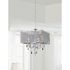 Chrome/ Crystal 4-light Square Chandelier | Overstock.com Shopping - Great Deals on Chandeliers & Pendants