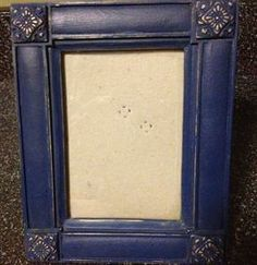 Painted Accessories chalk painted furniture, Small picture frame painted in Annie Sloan chalk paint Napoleonic blue distressed to show gold tone underneath, dark and clear waxed.