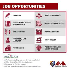 MORE Job Opportunities from AMA and Maximum Solutions Corporation! Don't forget to TAG and SHARE this to your friends! :) #HappyJobHunting, #AMAers! JOB DESCRIPTIONS: Writers - Graduate of Mass Communication or any related field. Knowledgeable in content writing for websites, sales letters, brochures and print ads. Marketing Clerk – Graduate of Marketing/Advertising; good in written and oral communications. Must be good-looking with a strong personality. Accounting Staff / Bookkeeper –…