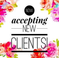 Accepting New Clients. We have space for new clients and can't wait to meet you. Call us today to make you consultation appointment. Salon Quotes, Hair Quotes, Hair Sayings, Spa Quotes, Real Estate Slogans, Hairdresser Quotes, Mental Health Counseling, Salon Business, Frases