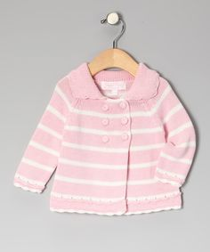 Take a look at this Pink & White Stripe Cardigan - Infant & Toddler on zulily today!