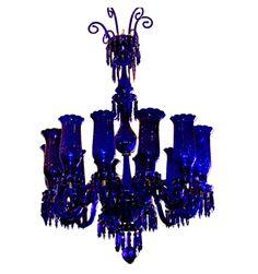 Cobalt Blue Glass Chandelier  Breathtakingly beautiful