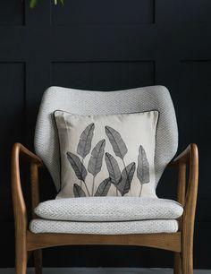 www.roseandgrey.co.uk palm-print-natural-cushion-black £32