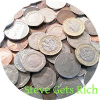 A circular pile of British, UK, coins of various denominations
