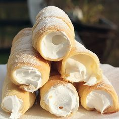 Schaumrollen: Puff pastry rolls filled with soft vanilla meringue. These incredibly sweet, very messy pastries are a favorite at Christmas markets and other open-air events in Austria. Think of a much lighter, less dense version of a cannoli.