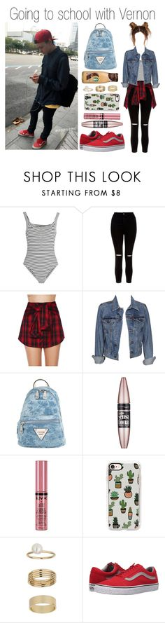 """""""going to school with Vernon"""" by yonce4park ❤ liked on Polyvore featuring Topshop Unique, New Look, Mustard Seed, Levi's, GUESS, Maybelline, NYX, Casetify, Miss Selfridge and Vans"""