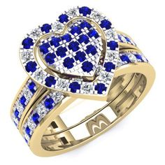 Share for $20 off your purchase of $100 or more! 1.10 Carat (Ctw) 18K Yellow Gold Round Cut Blue Sapphire & White Diamond Ladies Heart Shaped Bridal Engagement Ring With Matching Band Set 1 CT - Dazzling Rock #https://www.pinterest.com/dazzlingrock/