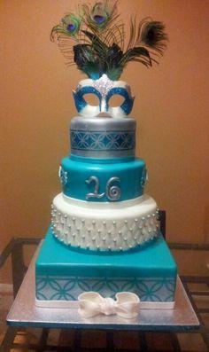 masquerade cake Alicia said to pin this one! Masquerade Cakes, Sweet 16 Masquerade, Masquerade Theme, Masquerade Ball, Masquerade Invitations, Masquerade Wedding, 16 Birthday Cake, Sweet 16 Birthday, Birthday Photos