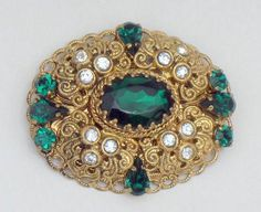 Vintage West German Emerald Green Rhinestone Filigree Brooch