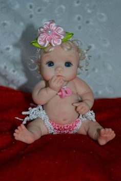 "*POLYMER CLAY ~ Original ART Ooak Baby Doll Girl 3"" June BY Yulia Shaver 