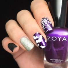 Polished Inka - Halloween Bats and Spiderweb nail art