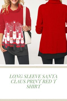 408f4774c Christmas Long Sleeve Santa Claus Print Red T Shirt Style :Casual Collar  :Cowl neck