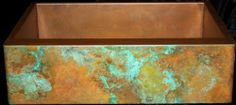 Copper patina options on apron front sinks by Rachiele