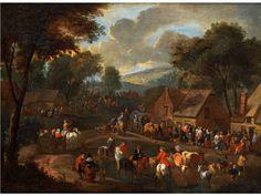 MARKTTAG VOR DEM DORF Öl auf Leinwand. 52 x 69 cm. Gerahmt. (1000553) (12) Peter van Engelen, 1664 - 1711 Antwerp, attributed, active in Antwerp MARKET DAY IN...