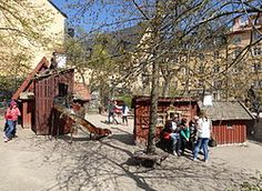 Bryggartäppan – Wikipedia // Playground in Södermalm, Stockholm - cute little town with kid-sized buildings