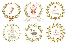 Hand drawn Christmas wreaths set