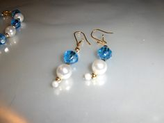 "Baby Blue ""Pearl Colors"" earrings --- $1.00 + $3.00 shipping in the USA"