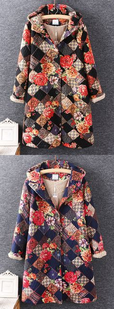 Women Floral Printed Long Sleeve Winter Thicken Hooded Coats