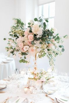 Flower centerpieces wedding - 38 Spring Floral Wedding Centerpieces To Rock – Flower centerpieces wedding Pastel Wedding Centerpieces, Wedding Table Centerpieces, Wedding Flower Arrangements, Floral Arrangements, Wedding Bouquets, Centerpiece Ideas, Tall Flower Centerpieces, Blush Wedding Flowers, Wedding Table Flowers