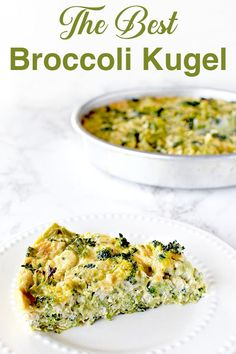 This broccoli kugel recipe is very easy and bursting with flavor! It's seriously the best I've ever made. Brocoli Casserole Recipes, Passover Recipes, Jewish Recipes, Passover Meal, Dairy Free Recipes Easy, Easy Dinner Recipes, Potato Kugel, Kosher Recipes