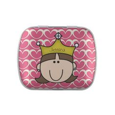 Customized Brunette Princess Birthday Candy Tins