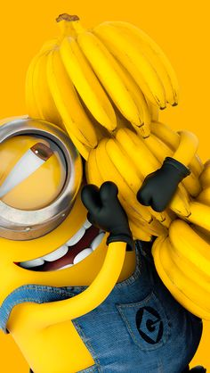 ↑↑TAP AND GET THE FREE APP! Art Creative Minions Bananas Funny Cartoon Yellow Smile Emotions HD iPhone 5 Wallpaper