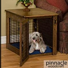 Dog Crate End Table, Wood Dog Crate, Wire Dog Crates, Puppy Crate, Dog Crate Furniture, Diy Dog Crate, Dog Kennel End Table, Crate Bed, Steel Furniture