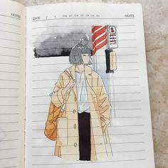 Train station~ Coat study ref used Train station~ Coat study ref used Pretty Art, Cute Art, Notebook Art, Arte Sketchbook, Art Plastique, Aesthetic Art, Cute Drawings, Art Inspo, Art Sketches