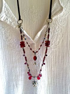 love in a locket! garnet double-strand red gemstone necklace antique silver openable heart leather long boho sundance style valentine's day