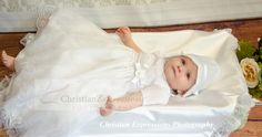 This sweet christening gown for girls has pretty embroidery over organza. Fully lined. Available at Christian Expressions of Rhode Island. Quality made in the USA Christening Gowns For Girls, Boy Christening Outfit, Baptism Outfit, Baptism Gown, Baby Baptism, Expressions Photography, Baby Hats, Suits, Christian