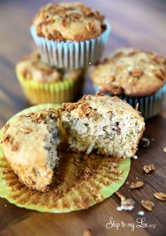 Easy banana oat muffins. Great for breakfast on the go, and they freeze beautifully! #recipe #muffin #oat skiptomylou.org