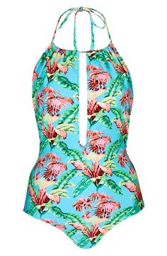 Love this Topshop halter swimsuit! The super soft fabric is so bright. It's perfect for summer and will pair well with cut off denim shorts.