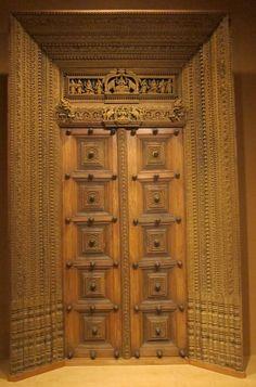 Antique wooden carved door.