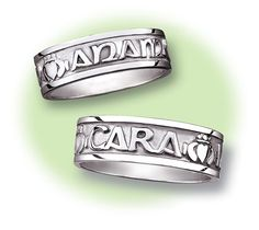 """His and Hers Mo Anam Cara rings. Engraved in Gaelic, """"My Soul Mate,"""" and interspersed with claddaghs."""