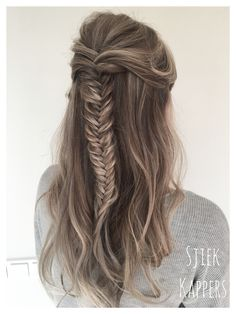 Half up, half down! Fishtail braid, hair updo,